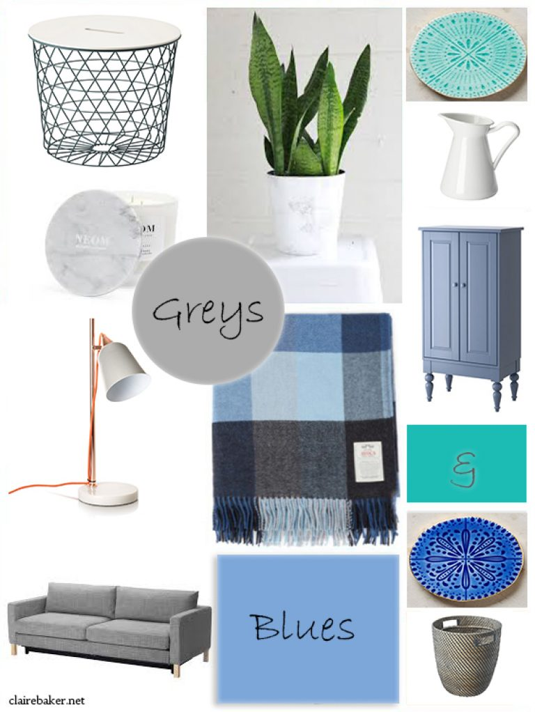 Blue and Grey Living Moodboard